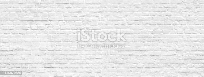 White brick wall panoramic background seamless pattern. You can print any size in high resolution