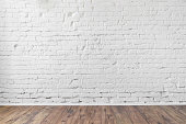 white brick wall background texture wooden floor