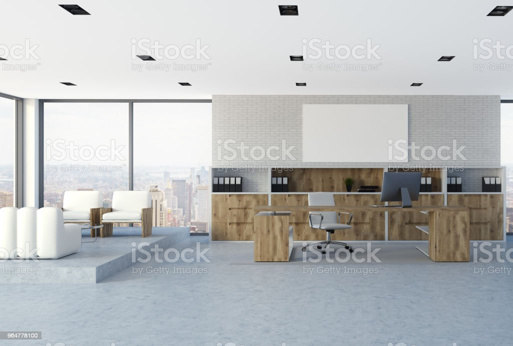 White brick wall CEO office interior, poster royalty-free stock photo