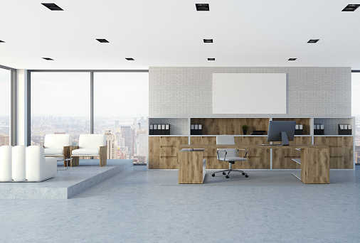 White Brick Wall Ceo Office Interior Poster Stock Photo - Download Image Now