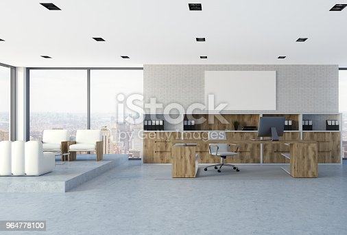 White Brick Wall Ceo Office Interior Poster Stock Photo & More Pictures of Architecture