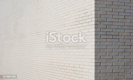 White brick wall corner