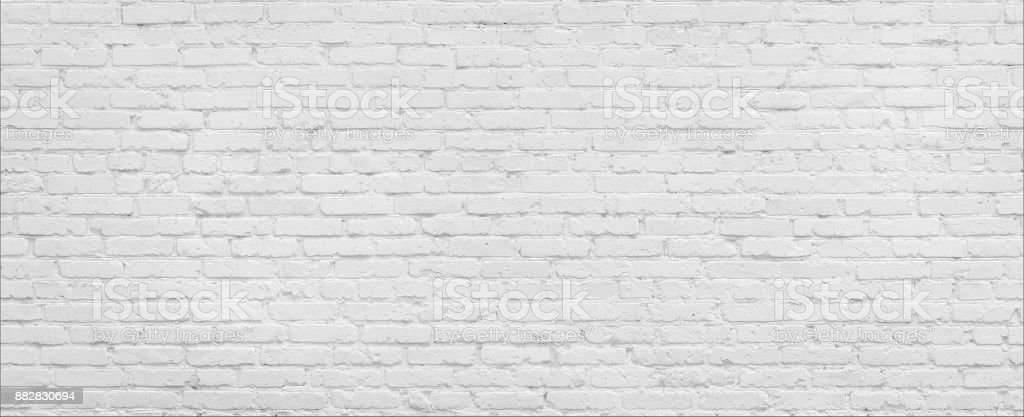White brick Wall panorama. stock photo