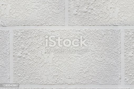 White brick wall texture background, Brickwork stonework interior, rock old clean concrete grid uneven abstract weathered bricks tile design