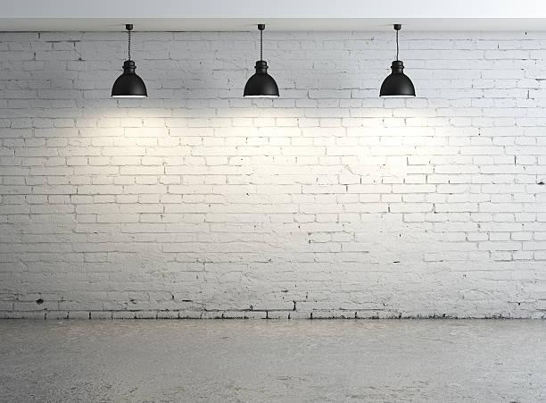oom, 천장용 램프 - 흰색 벽돌 담 뉴스 사진 이미지