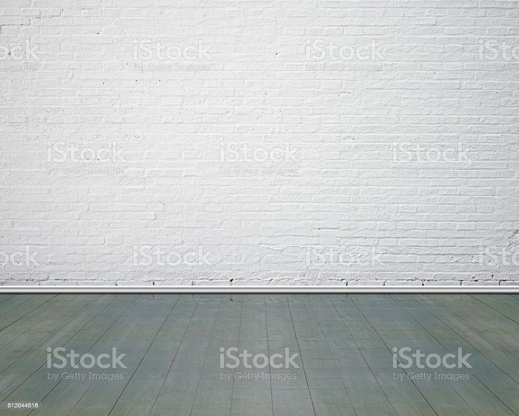 Weiße Ziegelwand mit vintage-Holzboden Innenpool – Foto