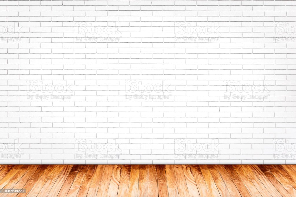 White Brick Wall With Wood Floor Texture Background Stock Photo Download Image Now Istock