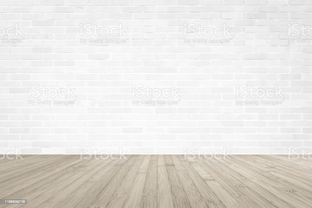 White Brick Wall With Wooden Floor Textured Background In Sepia Color Stock Photo Download Image Now Istock