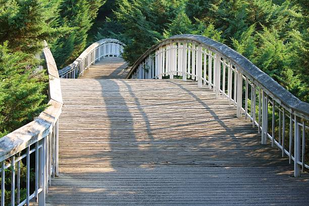 white bridge at Pullen park stock photo