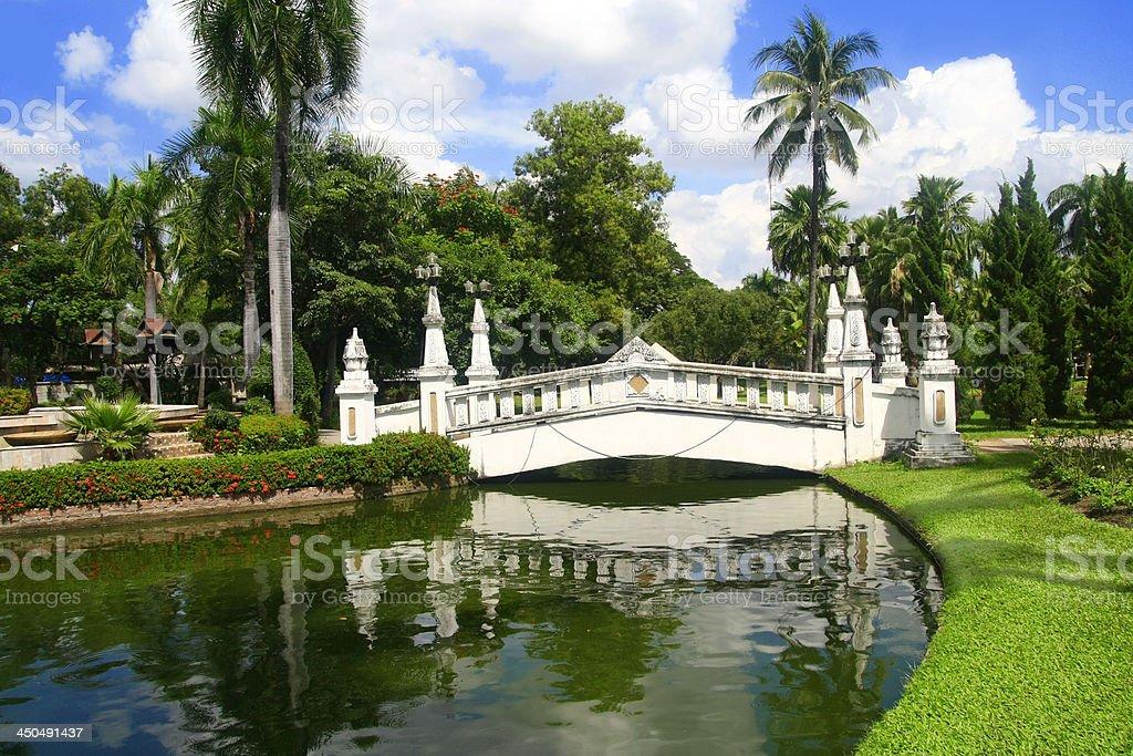 white bridge in garden royalty-free stock photo