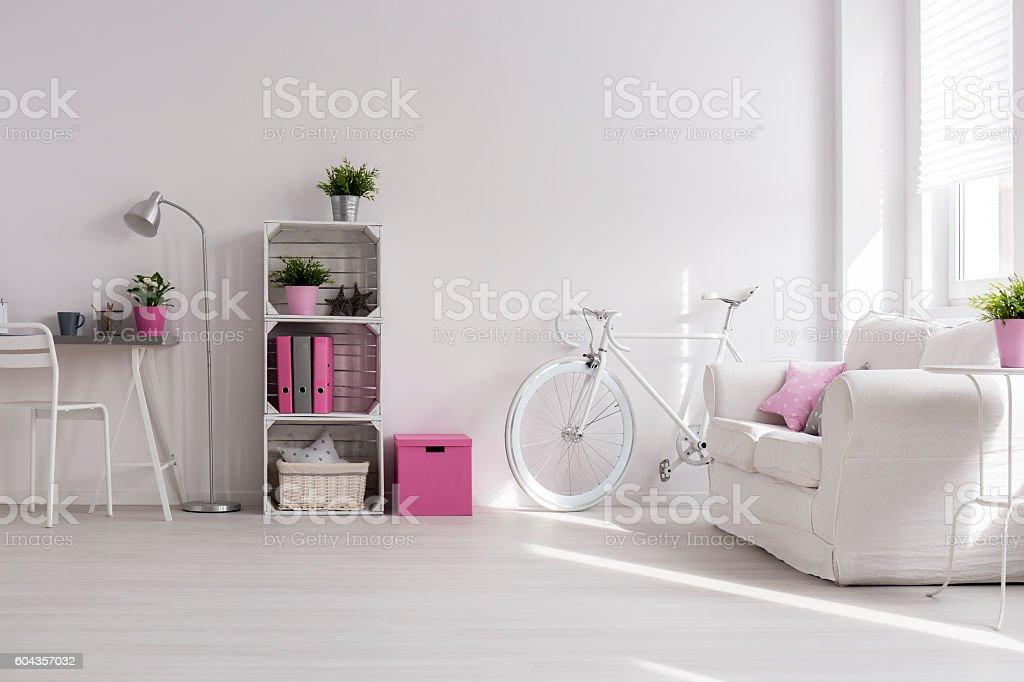 White bright room stock photo