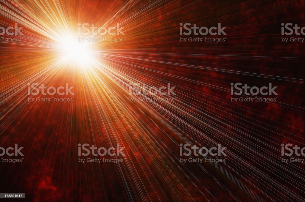 white bright star on a fire clouds background royalty-free stock photo