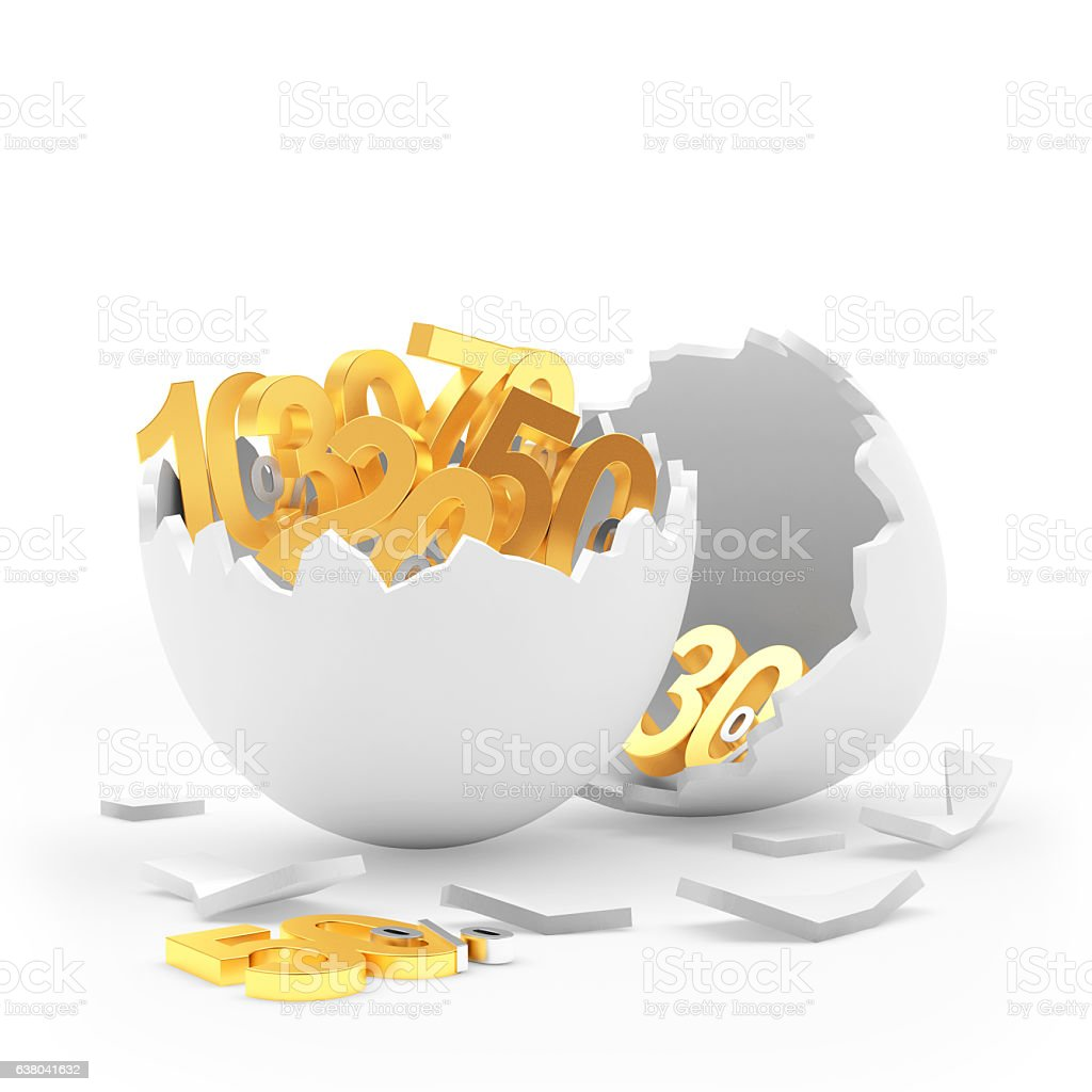 White broken egg shell full of golden different percentage discounts - foto de acervo