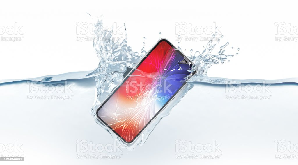 White broken smartphone mock up fall in water, 3d rendering stock photo