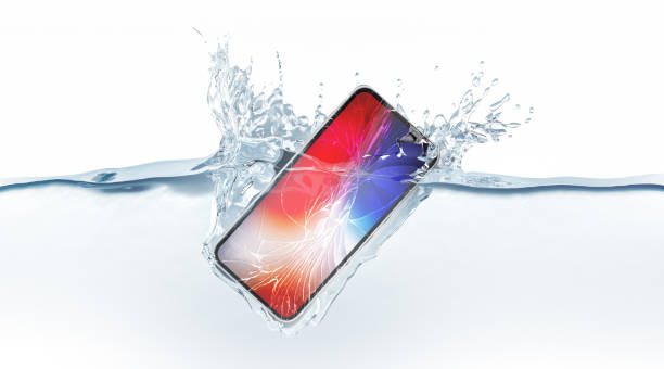 white broken smartphone mock up fall in water, 3d rendering - broken iphone stock photos and pictures