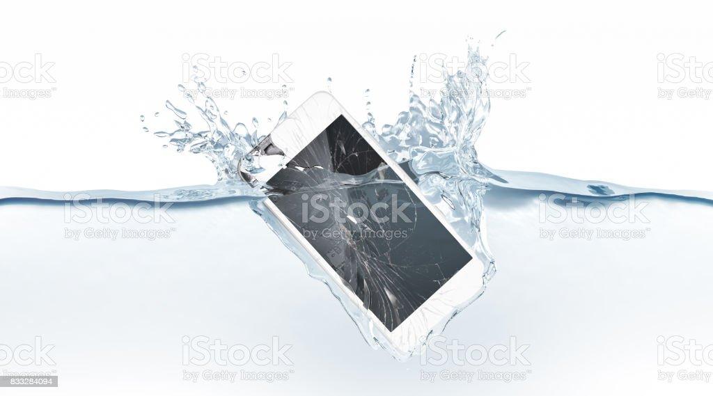 White broken smartphone mock up sinks in water stock photo