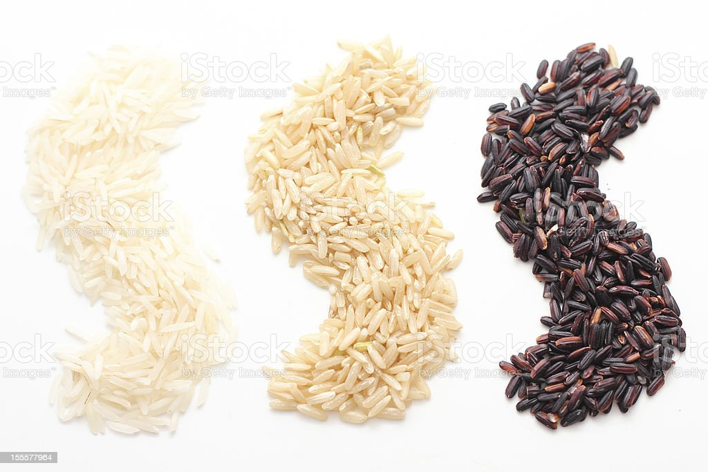 White, Brown, and Black Rice stock photo