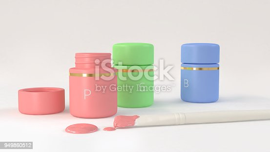 istock white brush and color bottles pink green blue 3d rendering 949860512