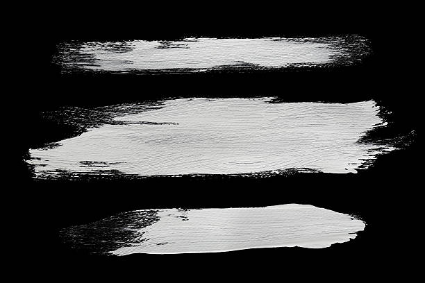white brush strokes real white brush strokes with detailed texture on black brush stroke stock pictures, royalty-free photos & images