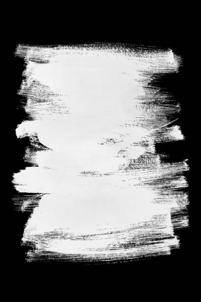 White brush strokes Abstract white paint brush strokes isolated over black brush stroke stock pictures, royalty-free photos & images