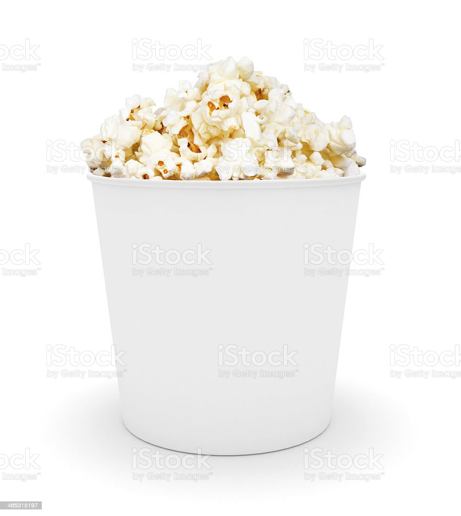 white bucket of popcorn. stock photo