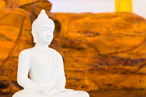 white buddha on wood background