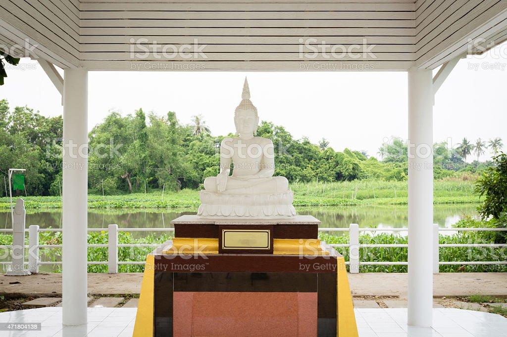 White Buddha pavilion stock photo