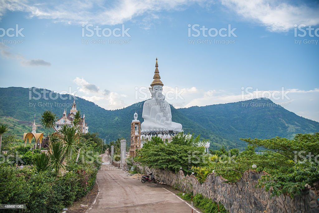 White buddha statue,Wat Phra That Pha Son Kaew stock photo