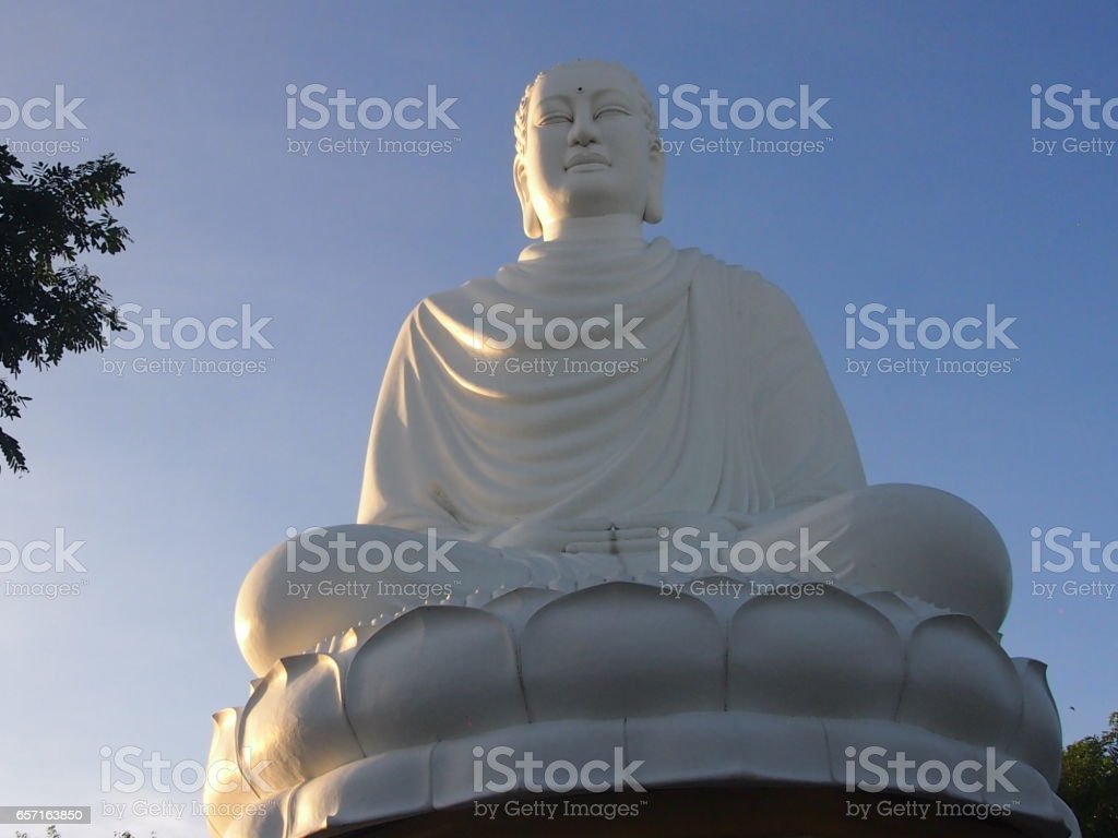 White Buddha`s statue stock photo