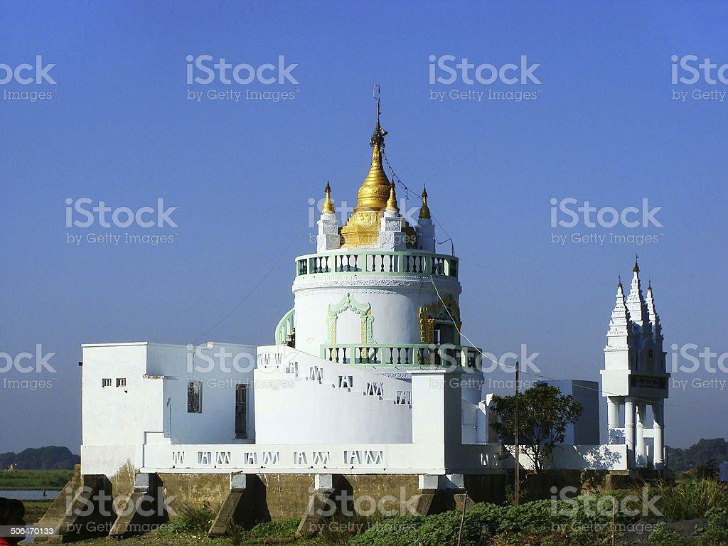 White Buddhist temple, Amarapura, Myanmar stock photo