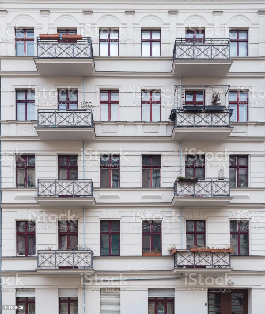 White Building Facade with Balconys Front View, Berlin stock photo