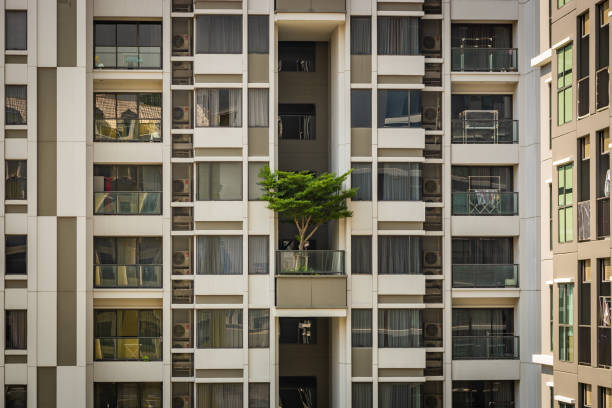 White building in Bangkok with a green tree on the balcony, a building with windows and balconies, Thailand – zdjęcie