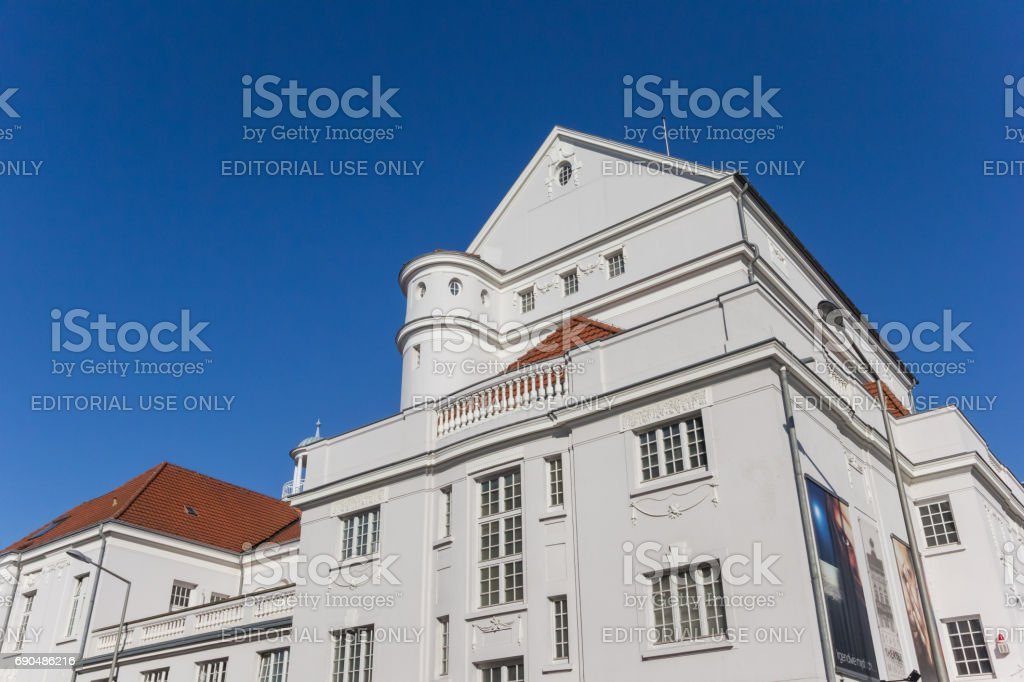 White building of the city Theater in Minden, Germany stock photo