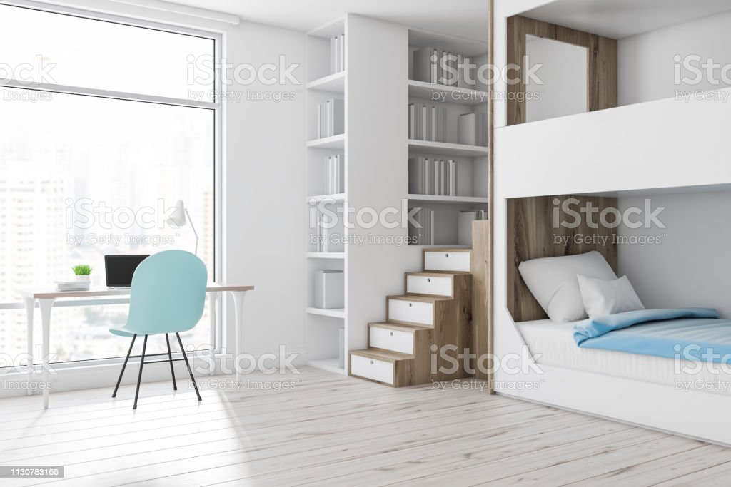 Picture of: White Bunk Bed Bedroom Corner Computer Desk Stock Photo Download Image Now Istock