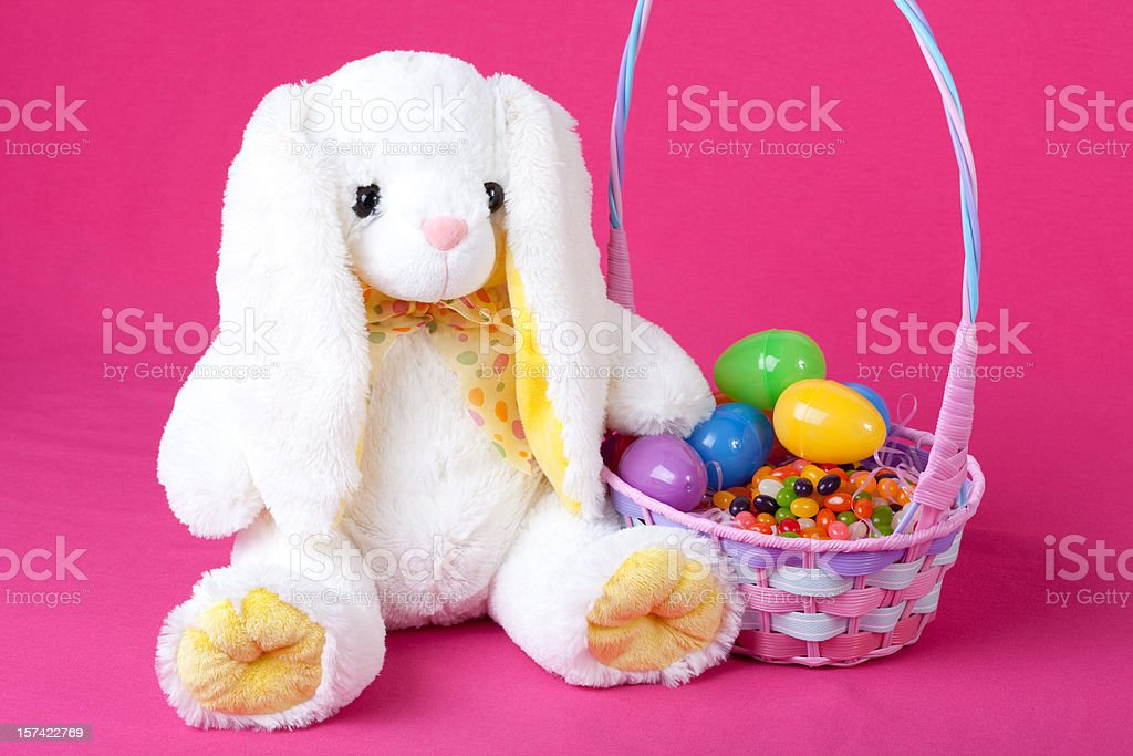 White Bunny with Easter Basket stock photo