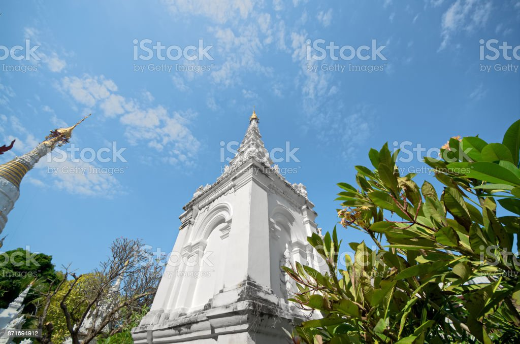 White Burmese pagoda style in Wat Mahawan (Mahawan temple) - Chiang Mai, Thailand stock photo