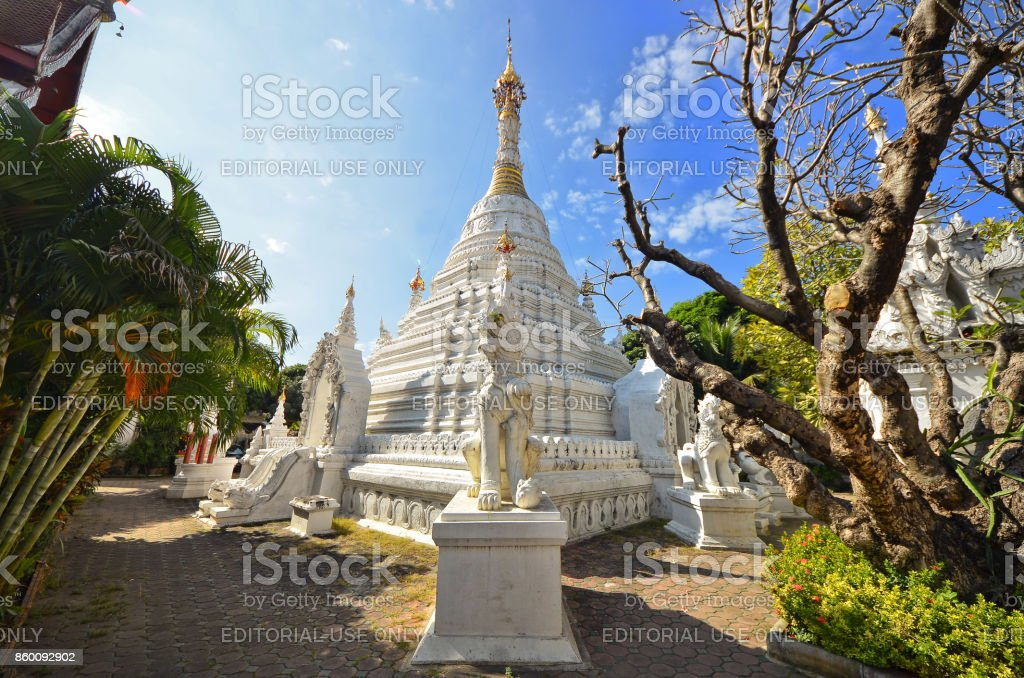 White Burmese pagoda style stock photo