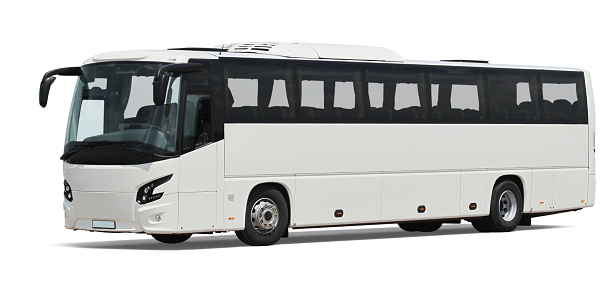 White Bus Isolated Stock Photo - Download Image Now