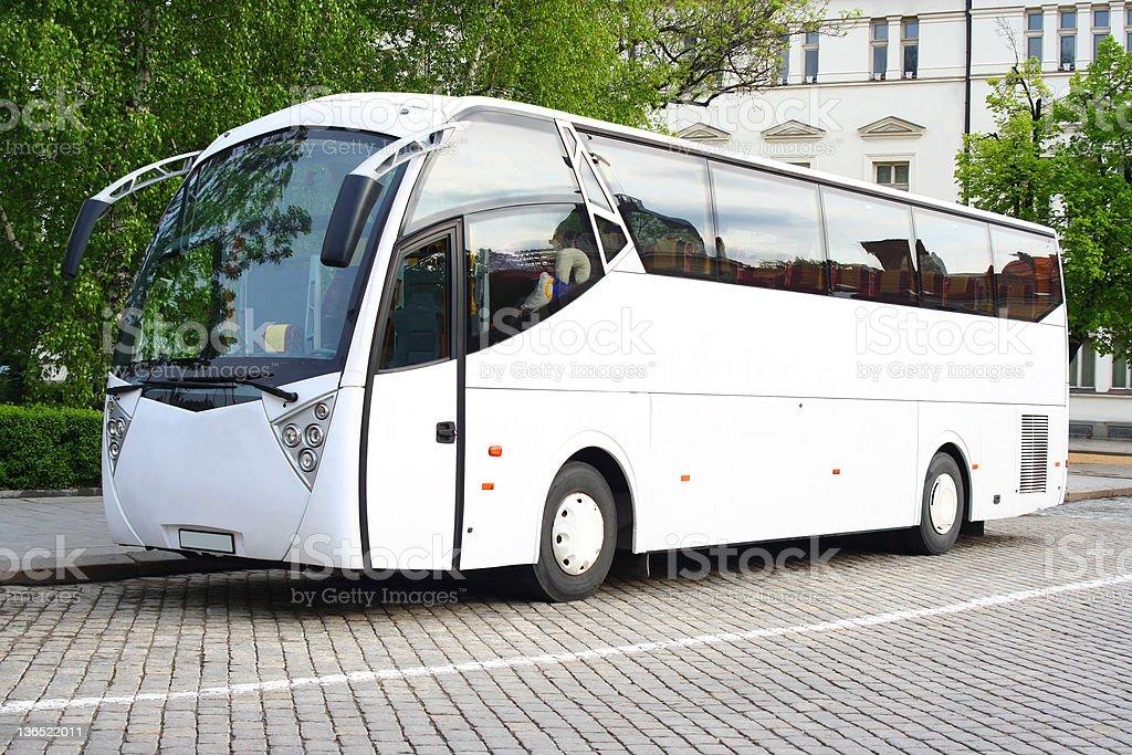 White bus stock photo