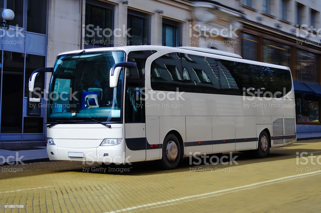 Blanco Bus - foto de stock