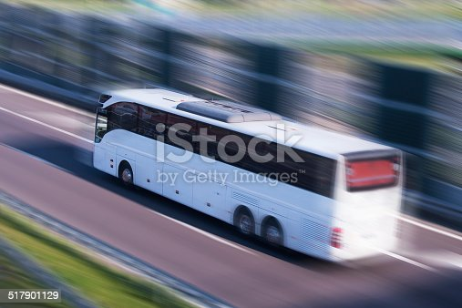 1060957508istockphoto White Bus Running on a Fast Lane, Motion Blur 517901129
