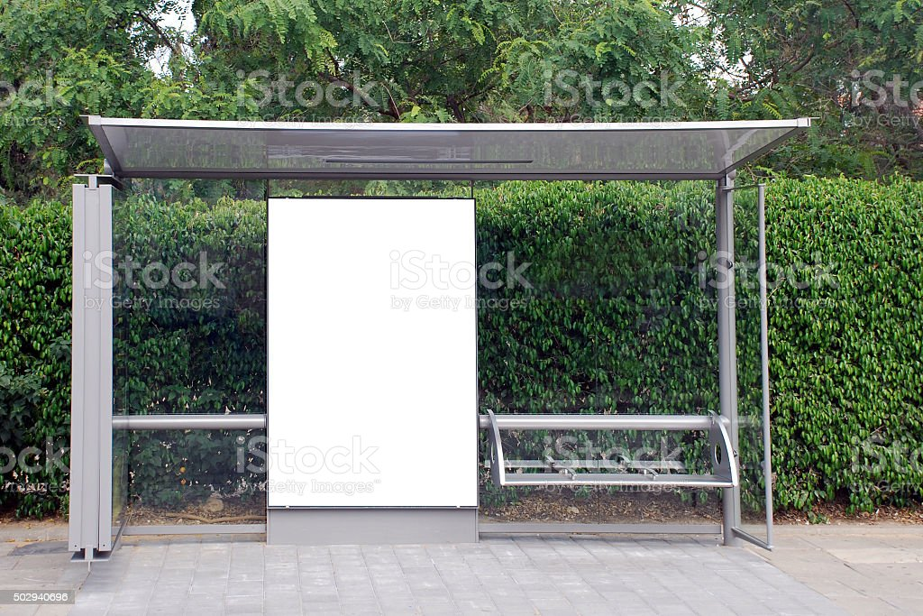 White Bus stop Sign stock photo