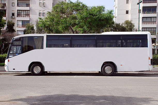 White Bus with Blank panel stock photo