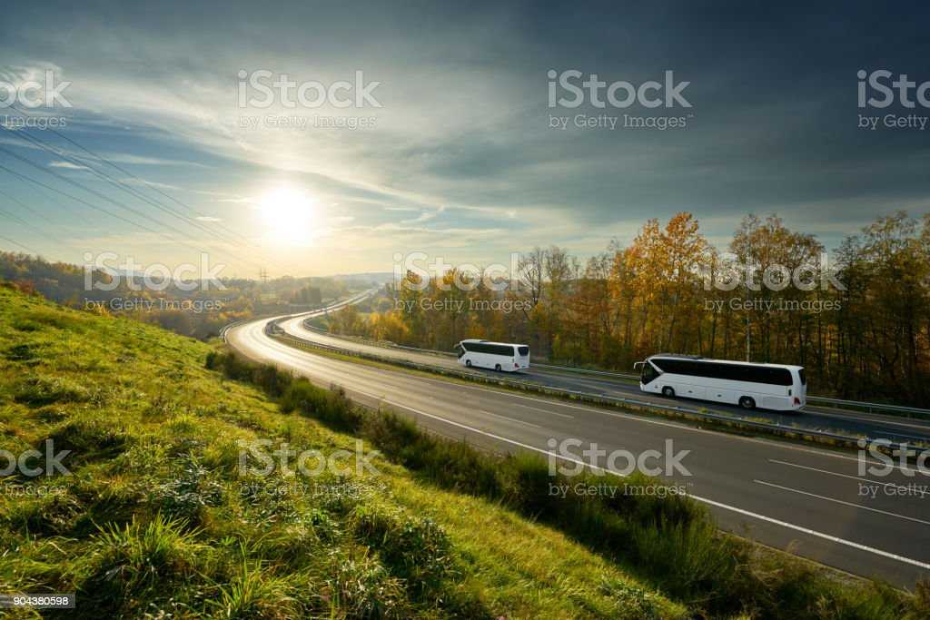 White buses traveling on the highway turning towards the horizon in an autumn landscape at sunset stock photo