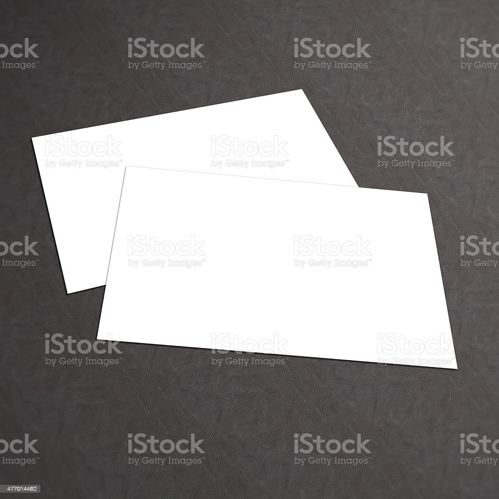 White business card mock up isolated on textured background stock photo