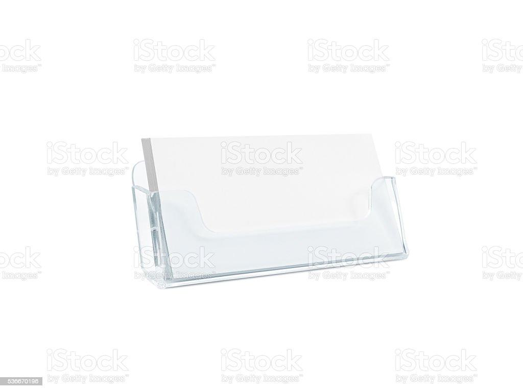 White business card mockup holder isolated. stock photo