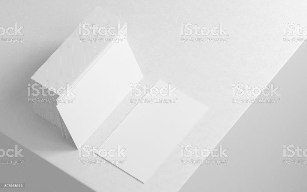 White business card mockup on modern white background stock photo