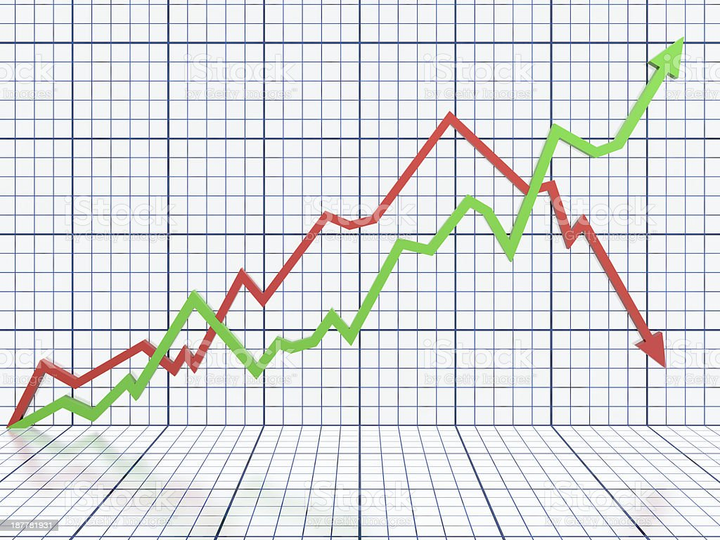 White business graph with red and green lines stock photo