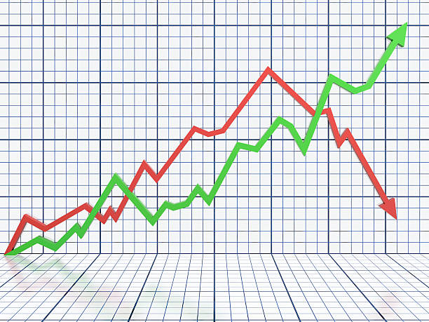 white business graph with red and green lines - moving down stock photos and pictures