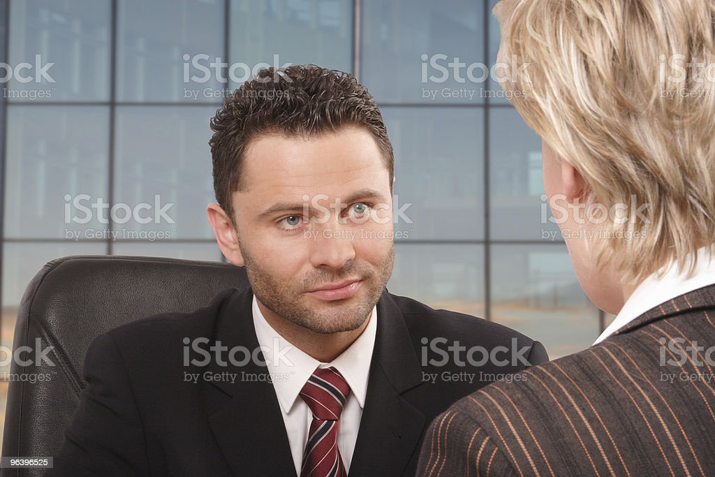 White business man and woman talk royalty-free stock photo
